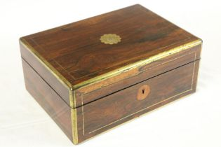 A late Regency period brass inlaid rosewood Vanity / Jewellery Case, with fitted interior and