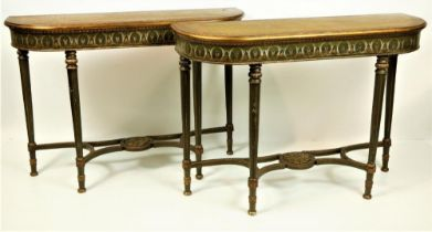 A pair of attractive polychrome painted and parcel gilt D shaped Side Tables, in the George III