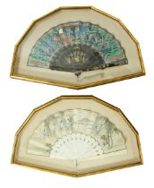 A 19th Century Chinese Fan, with carved and pierced ivory sticks, the silk leaves decorated with
