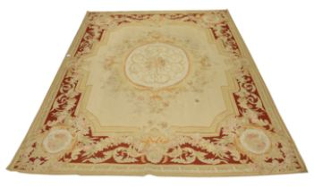 An attractive Aubusson style petti-point Tapestry Carpet or Wall Hanging, with centre floral oval