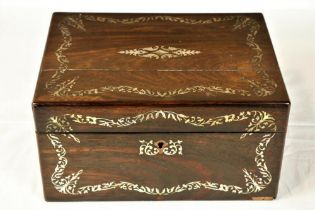 """A rosewood and mother-o-pearl inlaid Jewellery / Vanity Case, with slatted interior, 17"""" (30cms). ("""