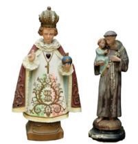 A painted plaster Model, of the Child of Prague & St. Joseph. (2)