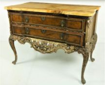 An 18th Century (possibly American) walnut and parcel gilt Commode, of inverted breakfront outline