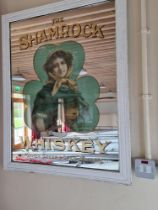 """A rare and original Advertising Mirror, """"The Shamrock Whiskey"""" by Kirker, Greer & Co. Ltd.,"""