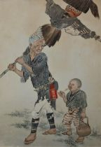 """19th Century Chinese School""""Peasant Farmer carrying a Scarecrow over his shoulder flanked by his"""
