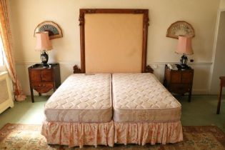A modern 6' Divan Bed, with double mattress, and a padded carved pollard oak headboard, adapted. (1)