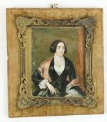 19th Century Irish SchoolMiniature Portrait of a seated lady in black dress and floral blouse, on