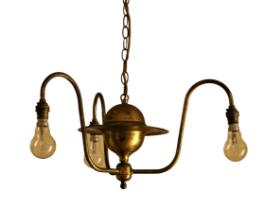 A three branch brass Ceiling Light. (1)
