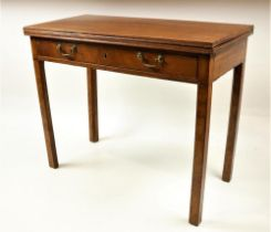 A 19th Century Irish mahogany fold-over Tea Table, with frieze drawer and brass handles, on square