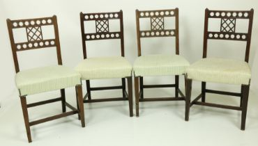 A set of 4, late 19th Century Gothic Revival mahogany Side Chairs, with double bar back and with two