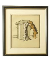 """After Cecil Aldin""""Best Friends,"""" a Dog and a Cat at Play, an attractive set of 4 coloured Prints,"""