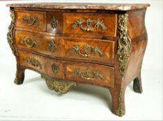 An important signed Louis XV kingwood bombe shaped Commode, by Jean Francois Lapie, applied with
