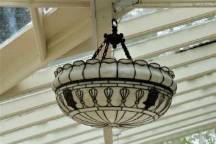 An attractive large Art Deco style Ceiling Light, with brass decoration. (1)