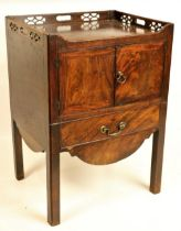 A George III period mahogany tray top Bedside Cupboard, with three-quarter chinoiserie pierced