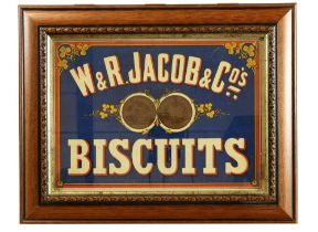 """Advertising: """"W. & R. Jacob & Co's Biscuits,"""" an original advertising board, approx.. 28cms x 39cms"""