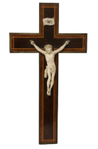 A 19th Century brass mounted inlaid and crossbanded rosewood Crucifix, mounted with a finely