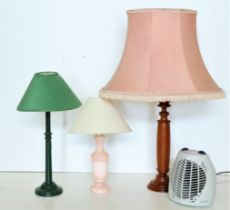 Three assorted electricTable Lamps, and an electric Fan Heater. (4)