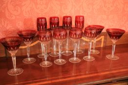 A good set of 12 Waterford crystal Glasses, comprising 4 ruby hock Glasses, 4 ruby Champagne