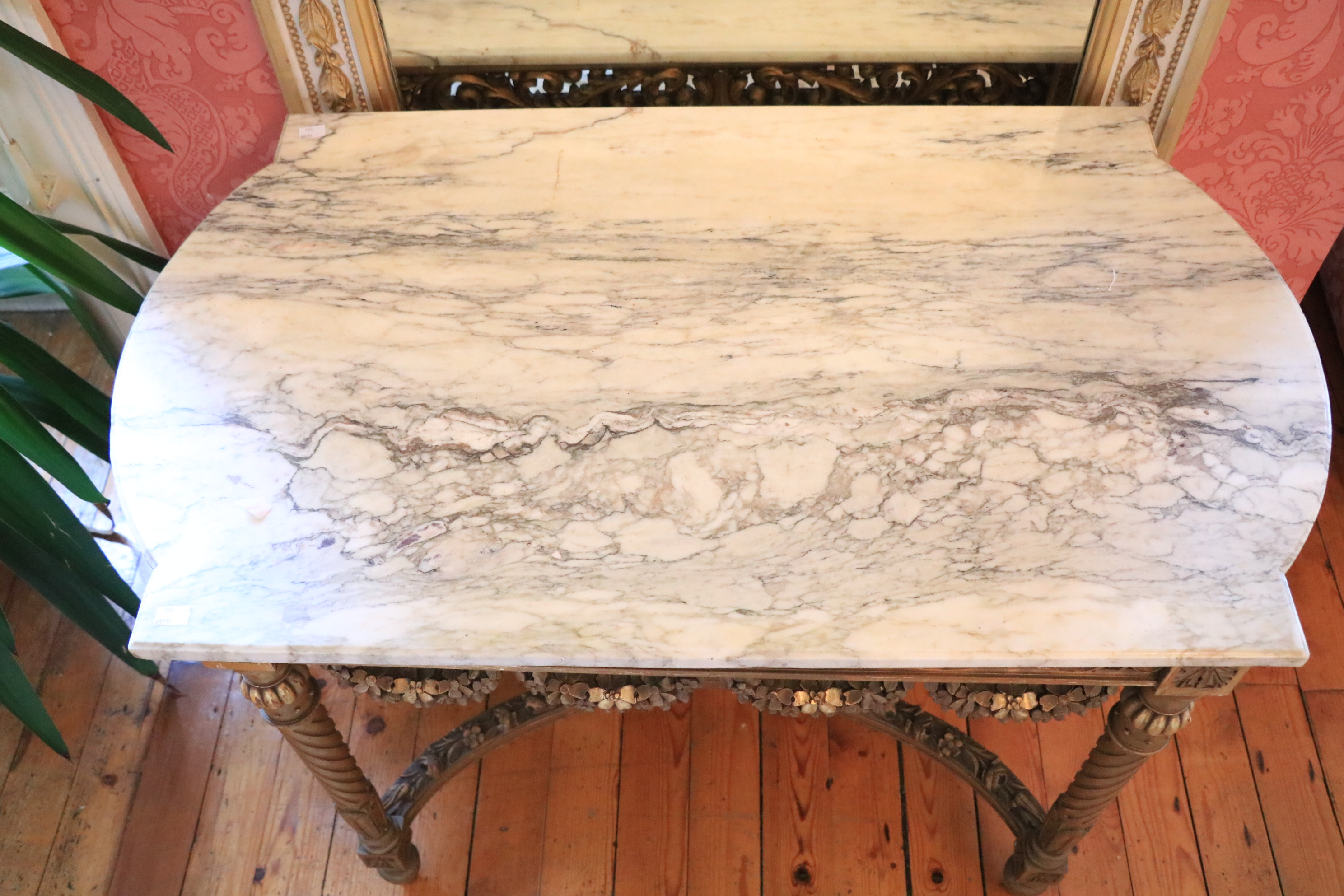 A French giltwood Centre Table, with white veined marble top with bowed ends above a pierced and - Image 4 of 9