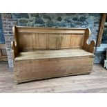 An early Irish pull out Settle Bed, with panelled wing back and plank set and front, 76'' (