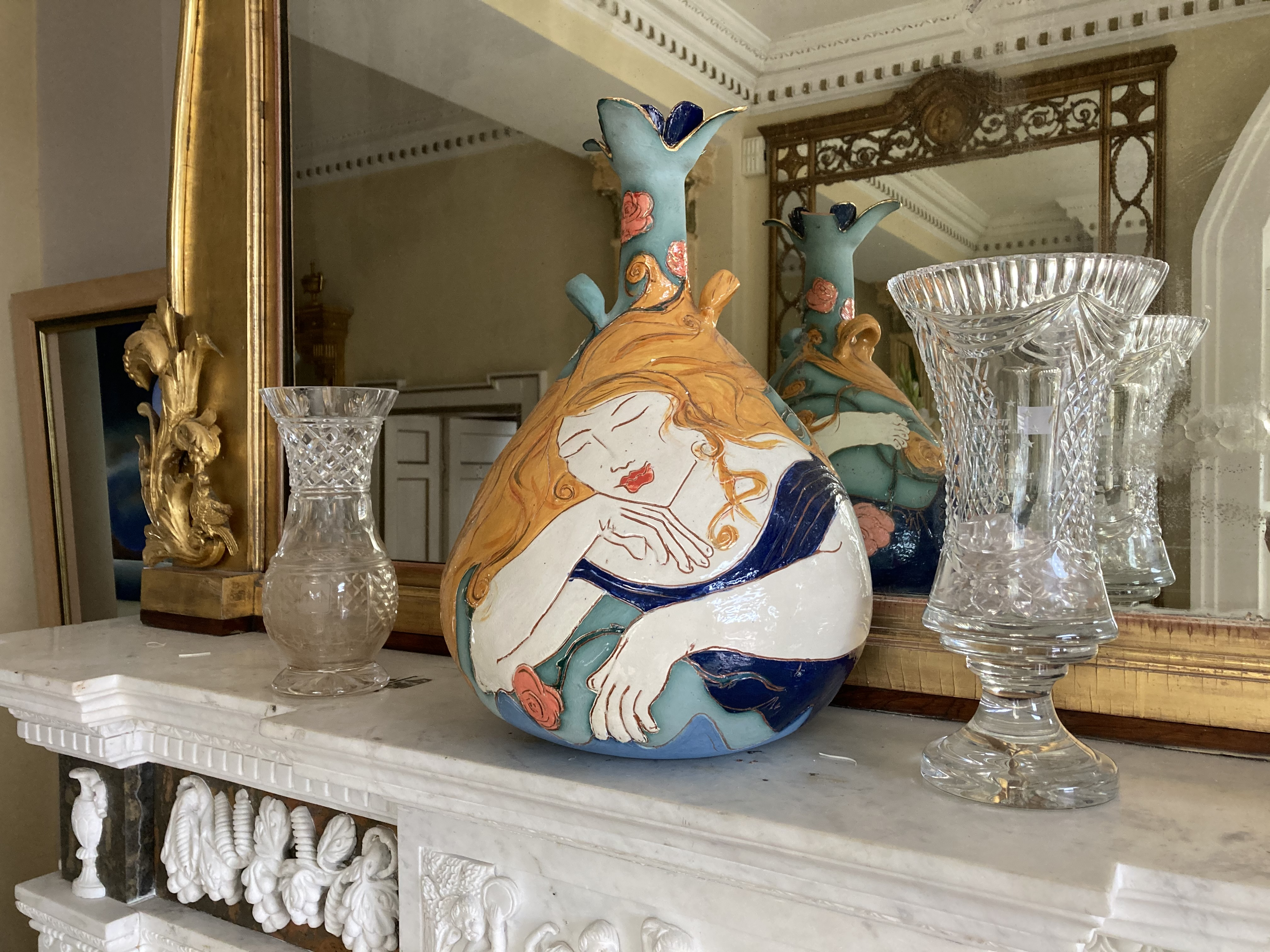 """An attractive Art Pottery Vase, decorated in the Art Nouveau style, approx. 18"""" (46cms) high; and"""