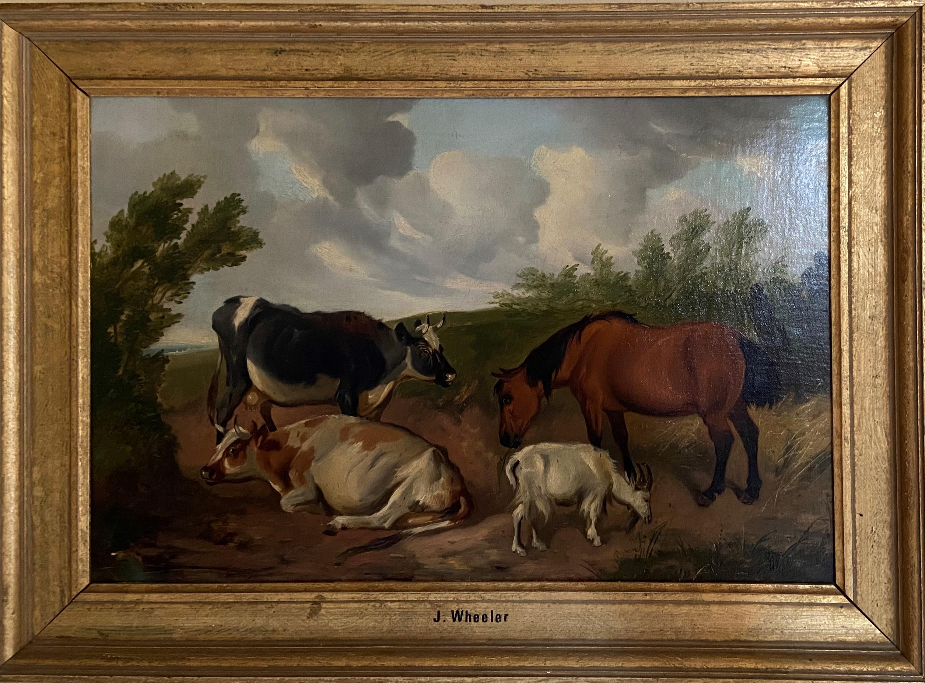 Circle of John Alfred Wheeler ''Cattle, Pony & Goat in a Landscape,'' O.O.C., bears monogram 12''