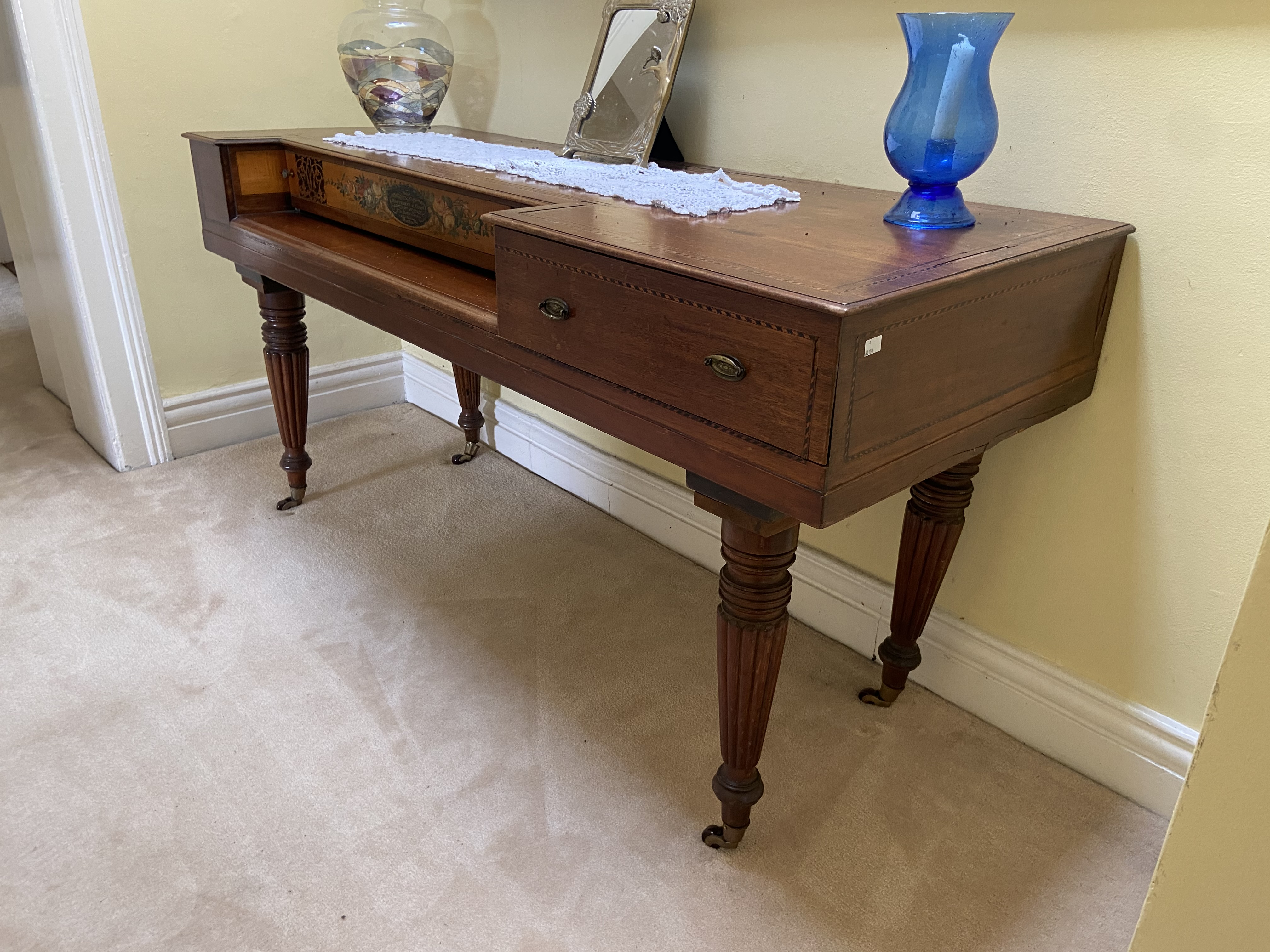 A Regency period Spinet, adopted with the label of Maslerman & Co., London, now with one long and