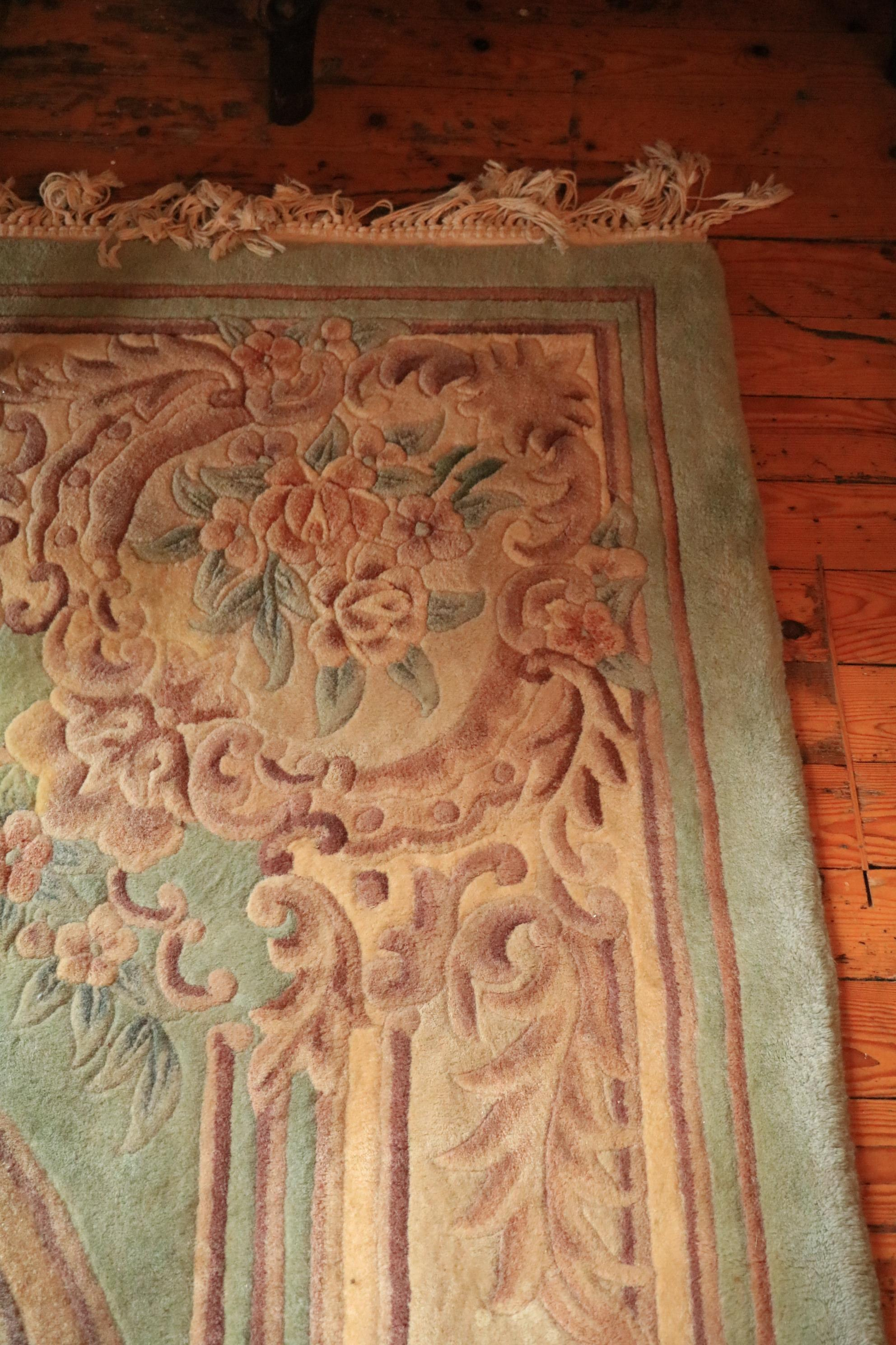A Chinese Kayan Carpet, the lime green ground with central floral medallion inside a conforming - Image 4 of 4