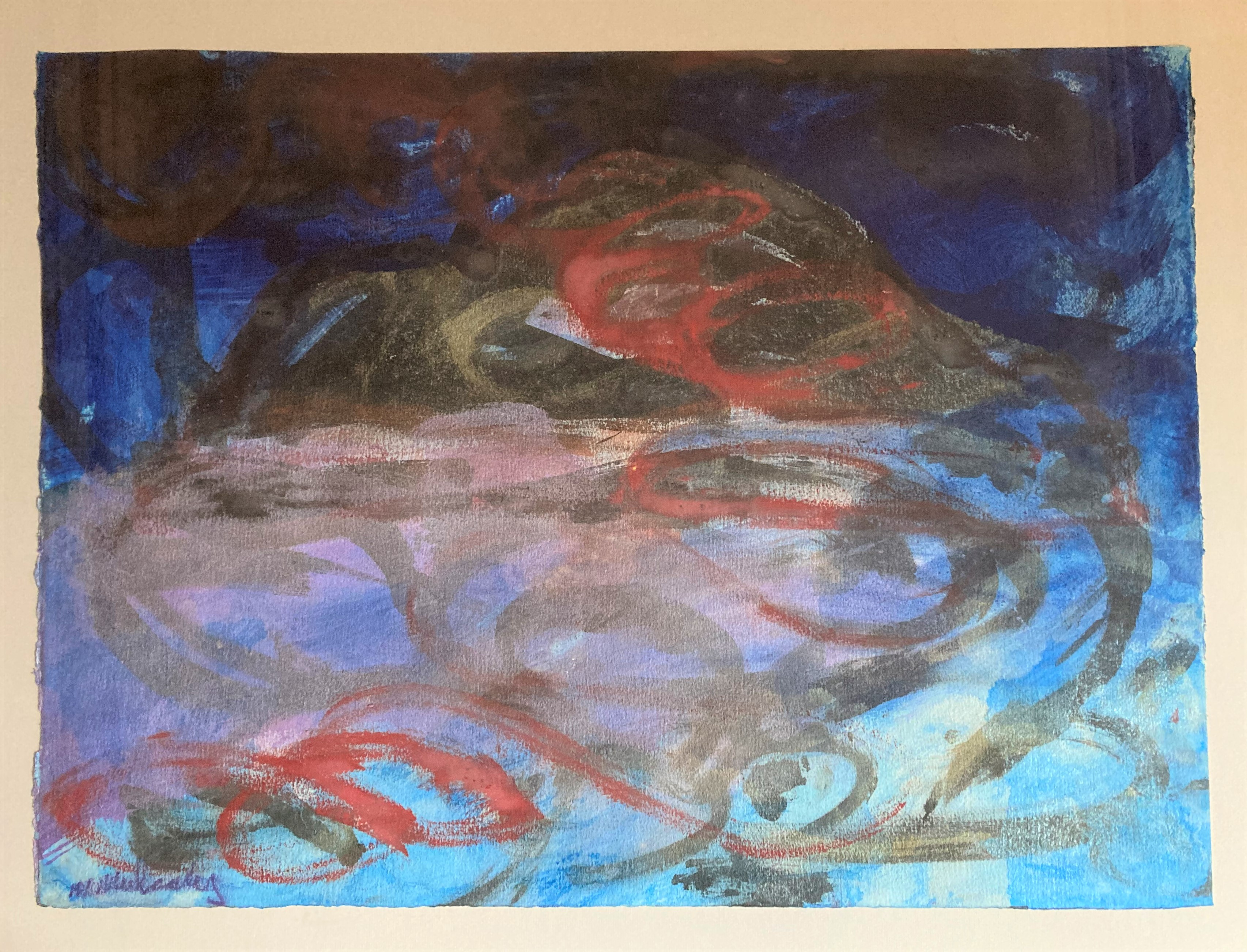 """Michael Mulcahy, b. 1952 """"Abstract the Skelligs at Night,"""" O.O.Paper, approx. 22"""" x 30"""" (56cms x"""