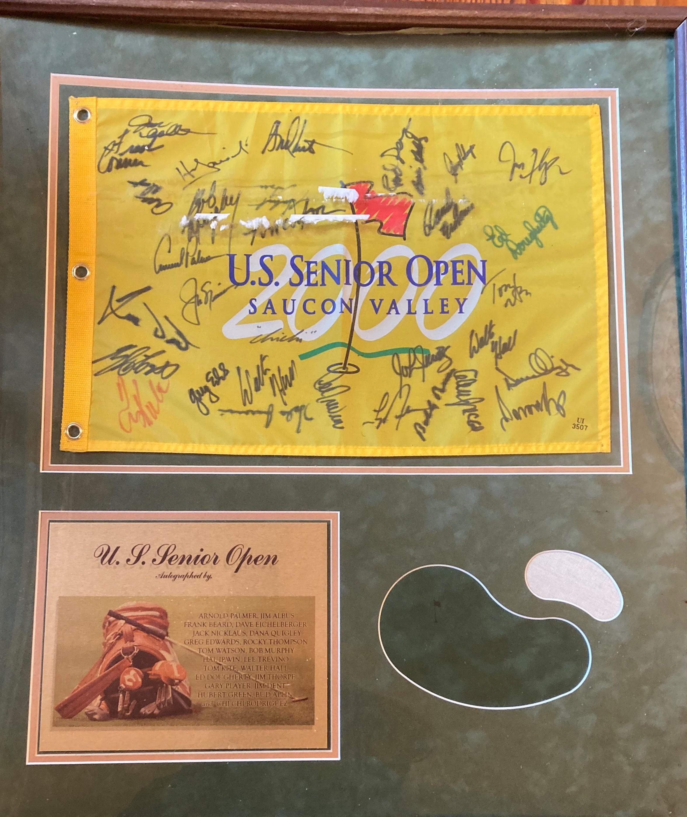 """Golf Memorabilia: A framed """"US Senior Open Saucon Valley"""" Flag, signed by Arnold Palmer, et al,"""