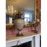 A large heavy Neo-Classical style marble and brass mounted Urn and Cover, with pineapple finial