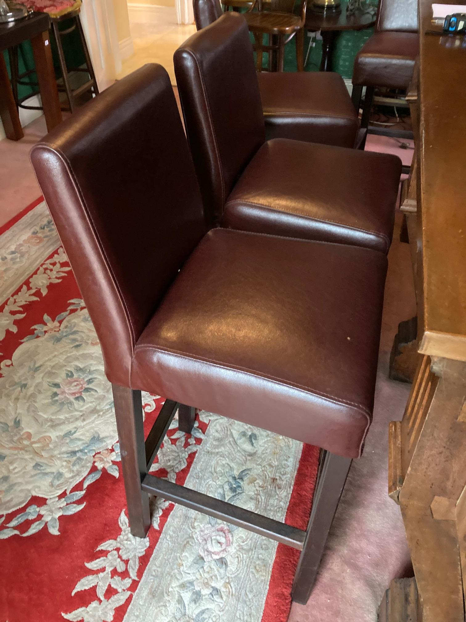 A good set of five large upholstered Bar Stools, covered in brown hide. (5) - Image 2 of 4
