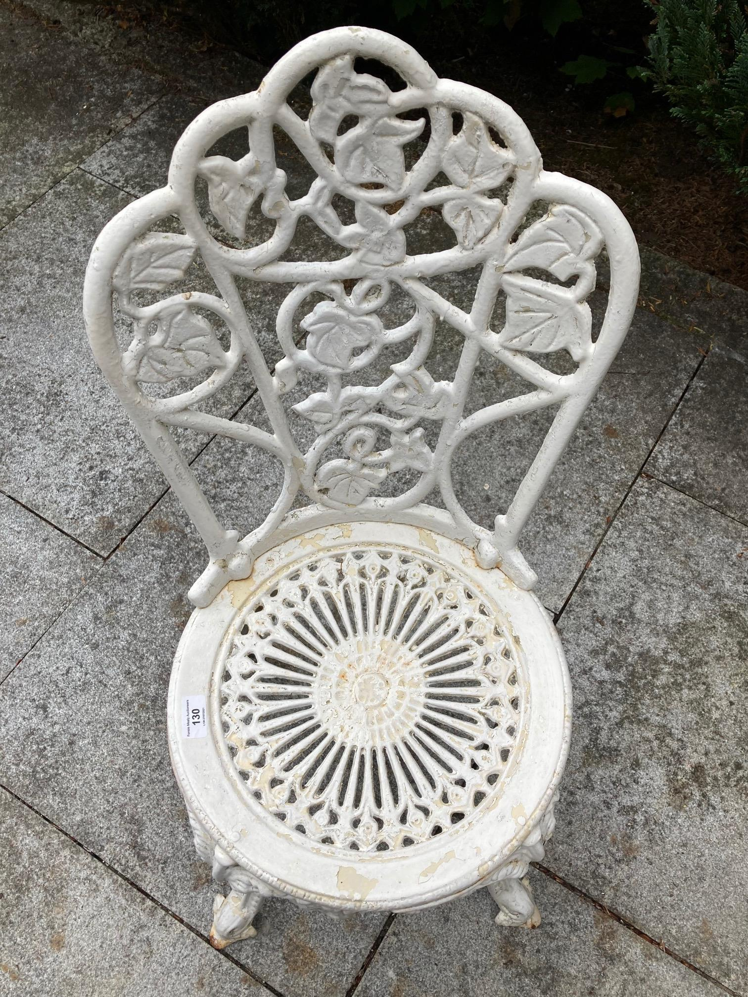 A four piece cast metal Patio Set, comprising a heavy circular table with open work top on four - Image 5 of 6