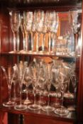 A set of 4 John Rocha Waterford crystal Wines, 6 Louise Kennedy Wine Flutes, a pair of John Rocha