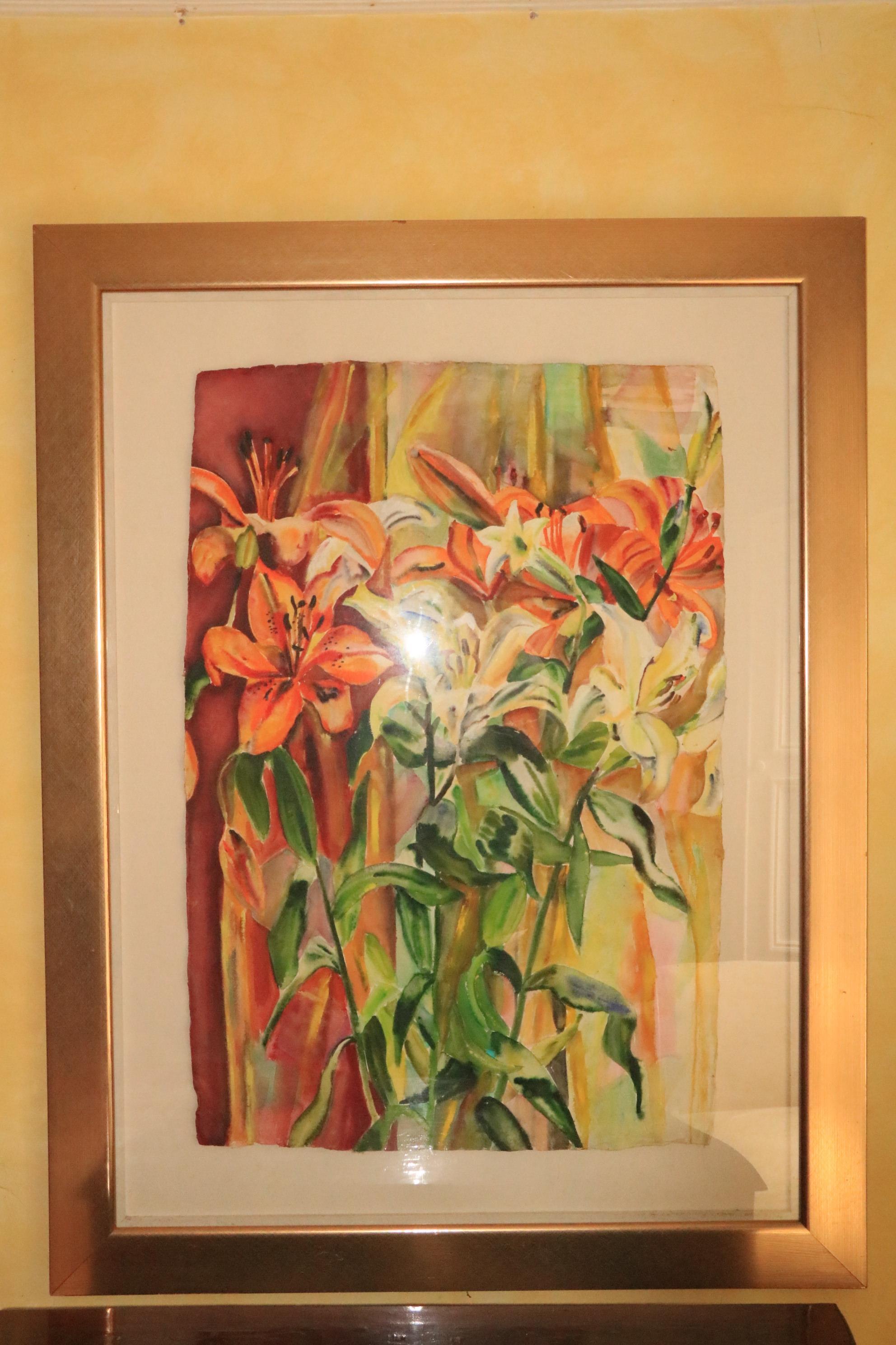 Regine Bartsch ( b.1951) 21st Century Watercolour on handmade paper, ''Colourful Lilies,'' 42'' x