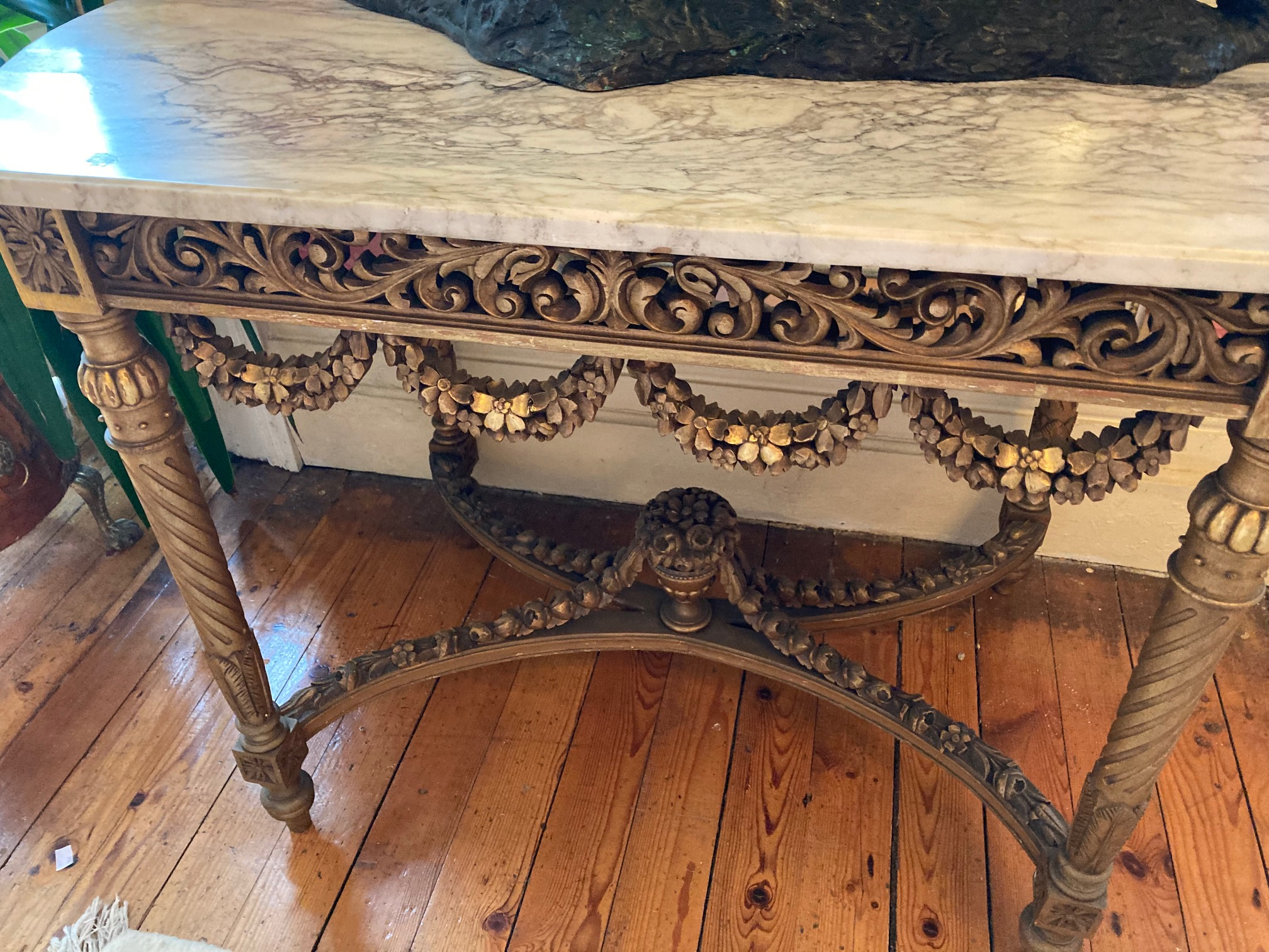 A French giltwood Centre Table, with white veined marble top with bowed ends above a pierced and - Image 7 of 9