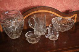 A Waterford crystal Marquis Vase, 7 1/2'' (19cms); a Dublin crystal Tankard, a Waterford crystal