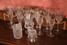 A set of 6 attractive French G. Durand crystal Wines, with frosted leaf design, a Waterford