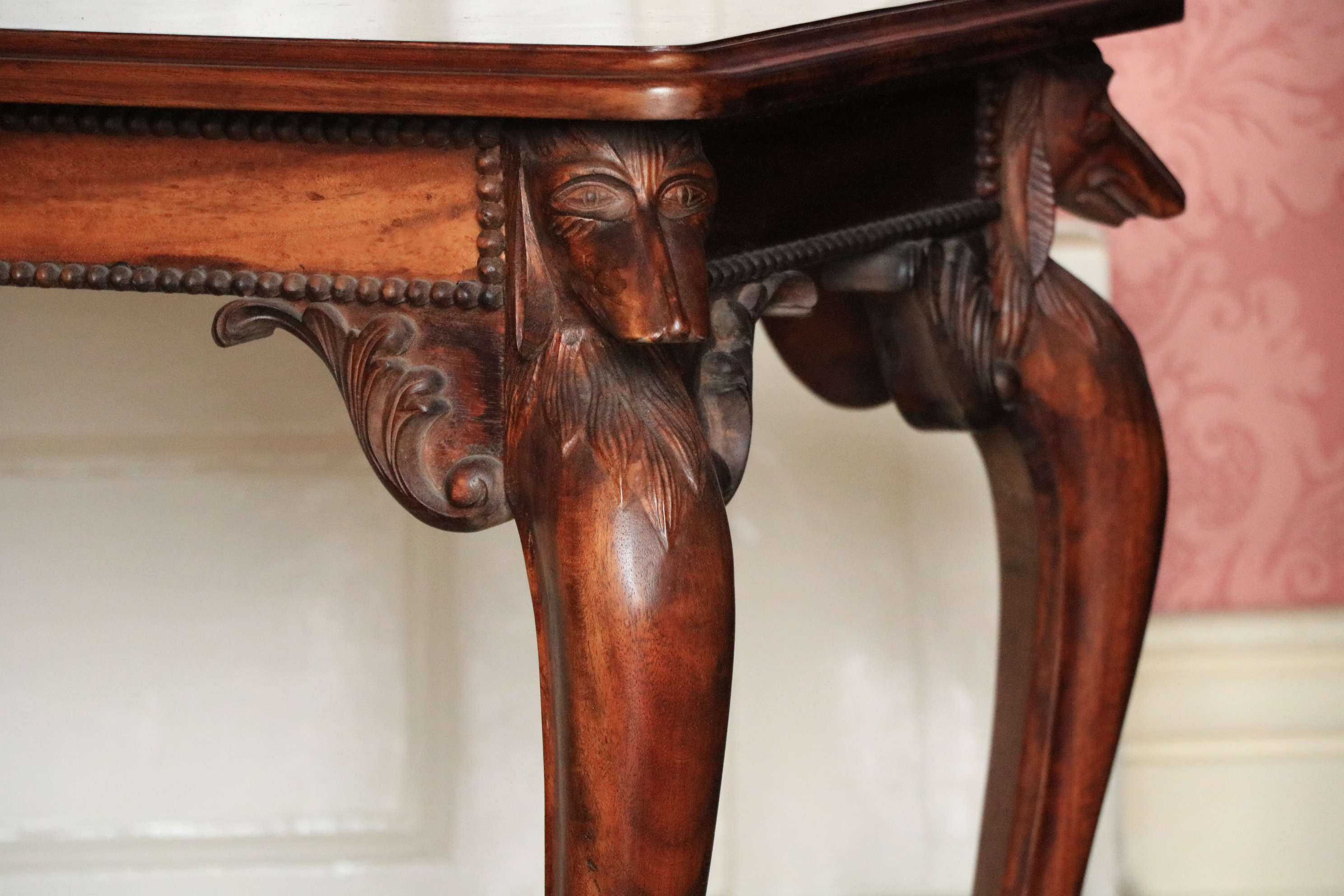 A rectangular mahogany Occasional Table, the moulded top above four greyhound heads on cabriole legs - Image 2 of 5