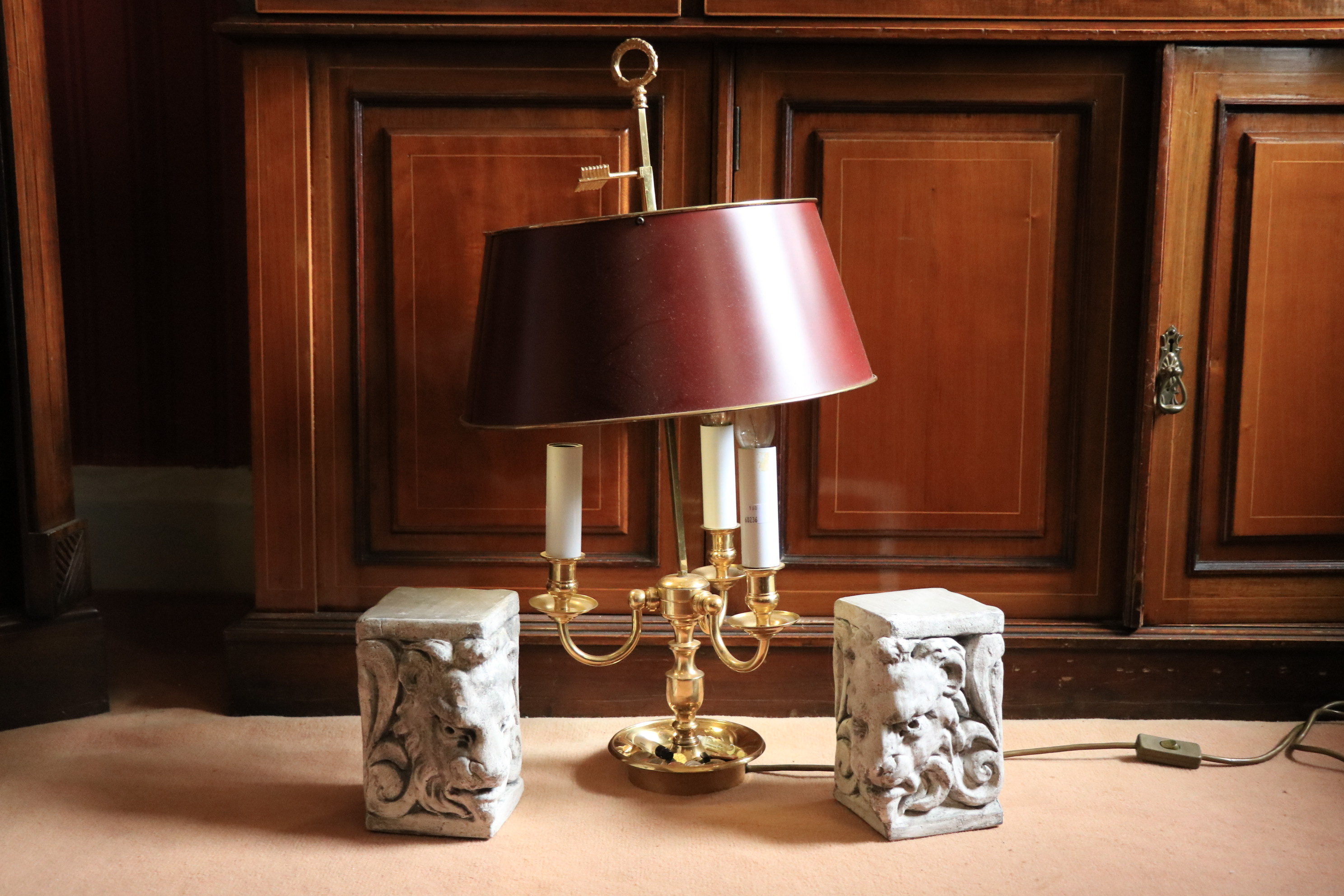A brass three branch Desk Lamp, with metal shade on circular base, 27'' (68cms); together with a - Image 2 of 2