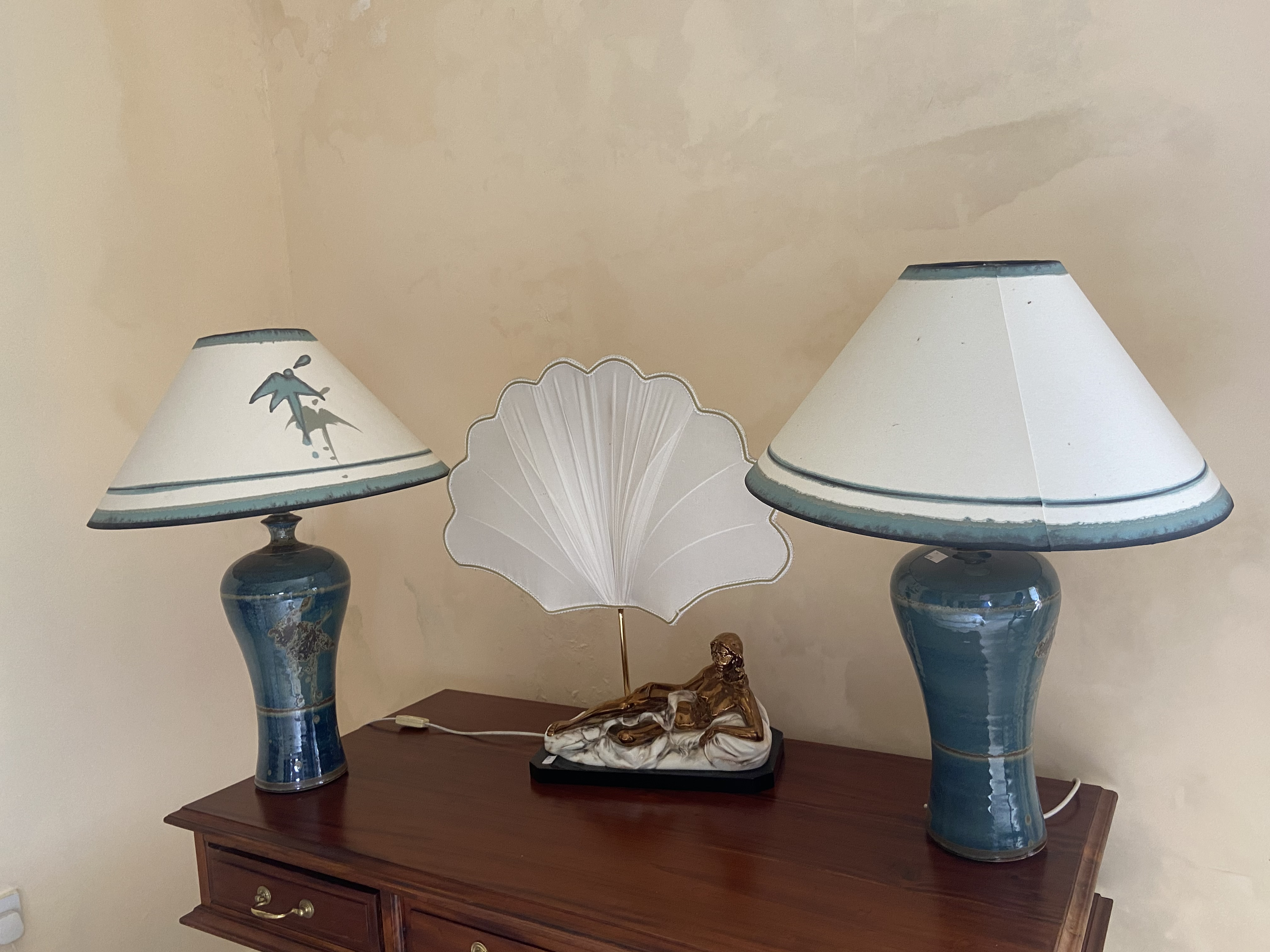 A pair of baluster shaped stoneware Table Lamps, with matching shades and another unusual Table Lamp