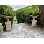 A pair of heavy cast iron Garden Urns, each with a tongue and dart moulded folded rim on a half