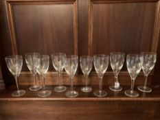 A set of 9 John Rocha Waterford crystal large Wines, and one matching smaller ditto. (10)