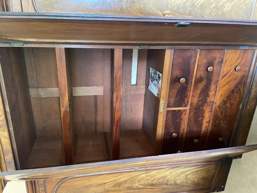 A fine Victorian breakfront Wardrobe, with raised centre and moulded cornice above four arched doors - Image 2 of 2