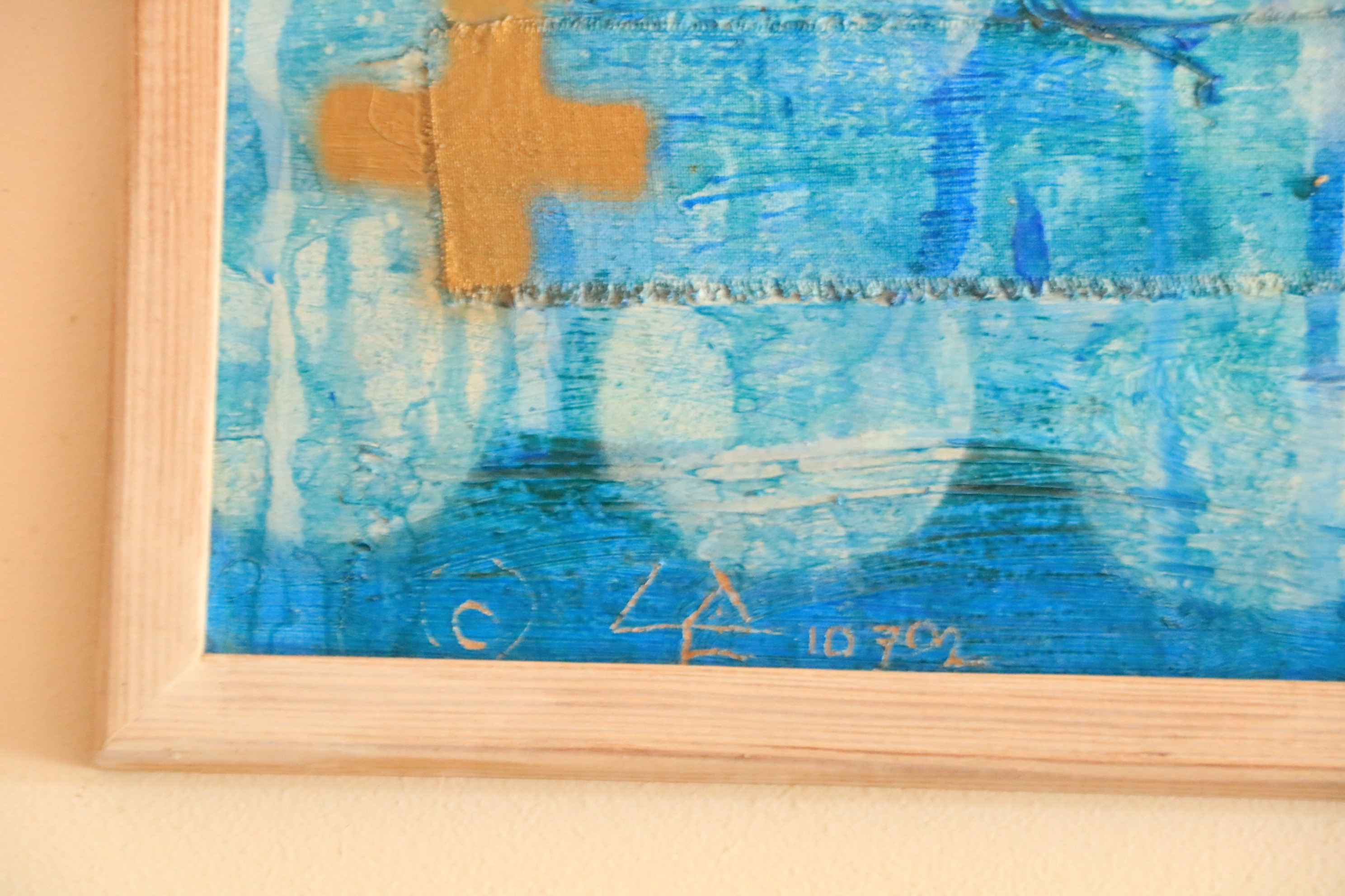 Liam de Fringe (1949) Mixed Media on Board, ''Abstract'' inscribed verso in Gaelic, 31'' x 47'' ( - Image 2 of 6