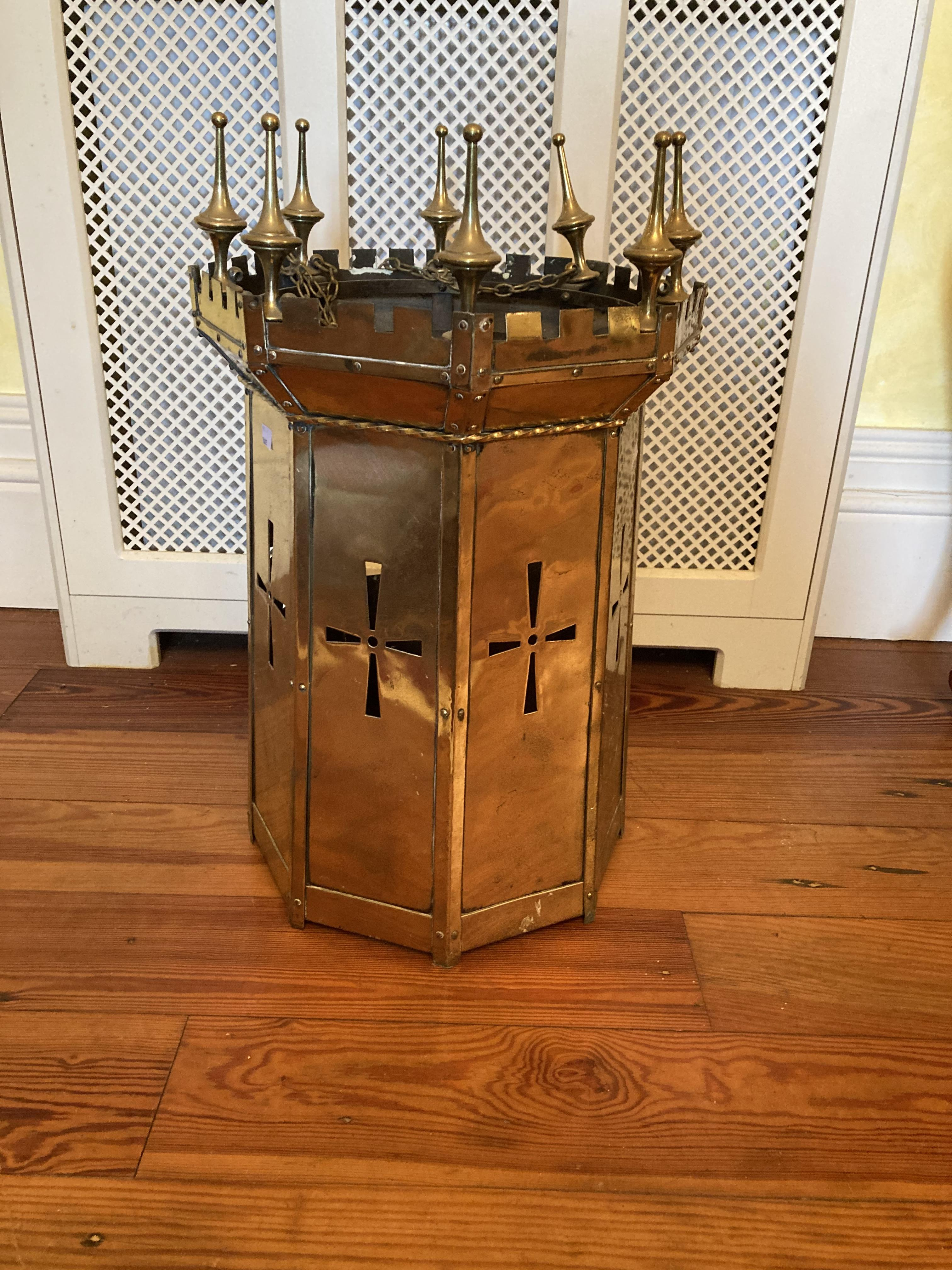 """A brass pierced decorated Gothic Revival Hall lantern, multiple finials, 26"""" (66cms) high x 16"""" ("""