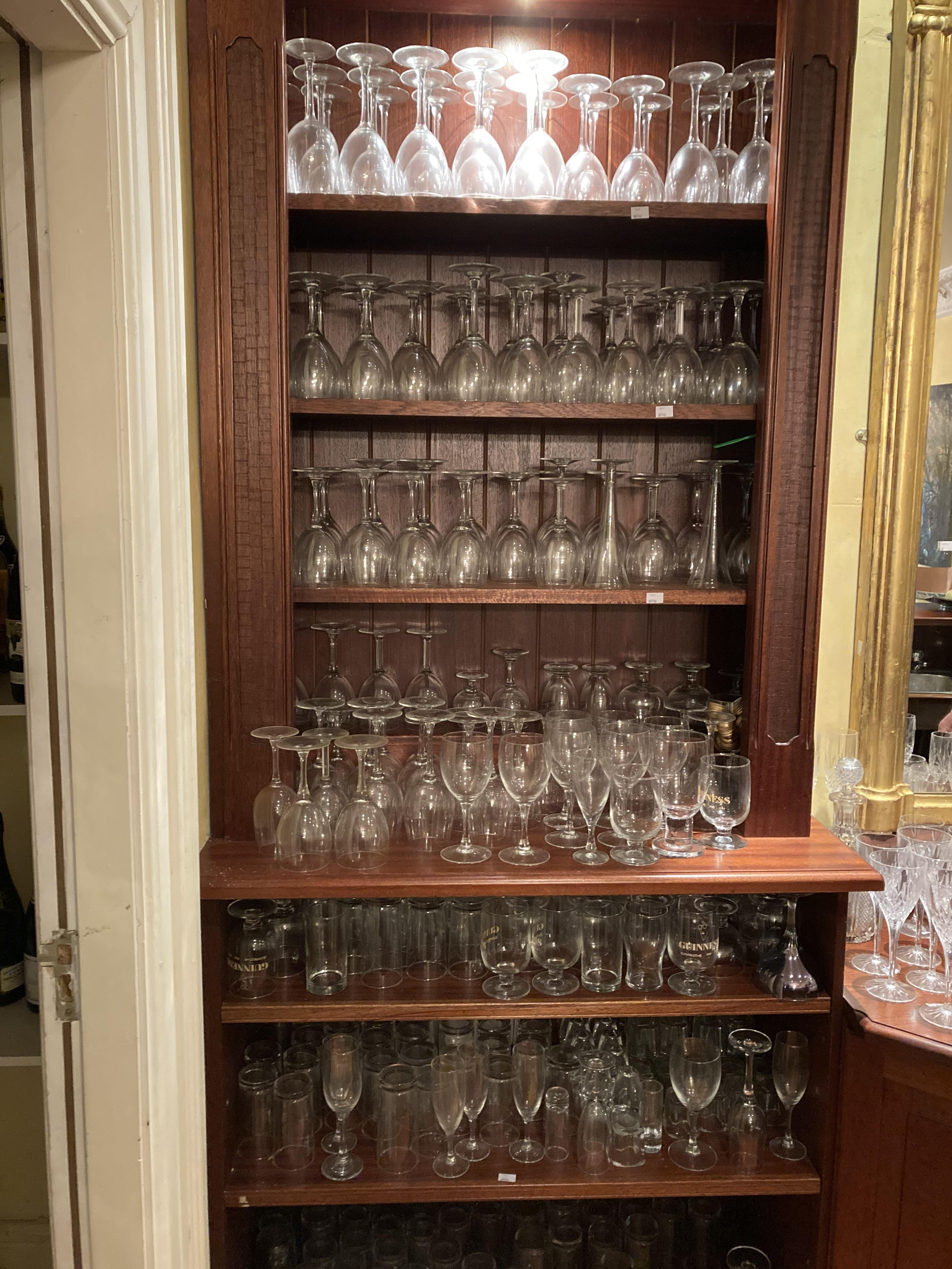 A large collection of miscellaneous Domestic and Bar Drinking Glasses, various shapes and sizes