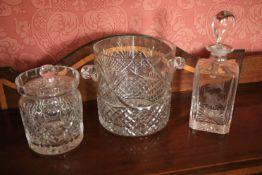 A Dublin crystal (Smurfit European Program Winner 1997) Ice Bucket, 7'' (18cms); a Waterford crystal
