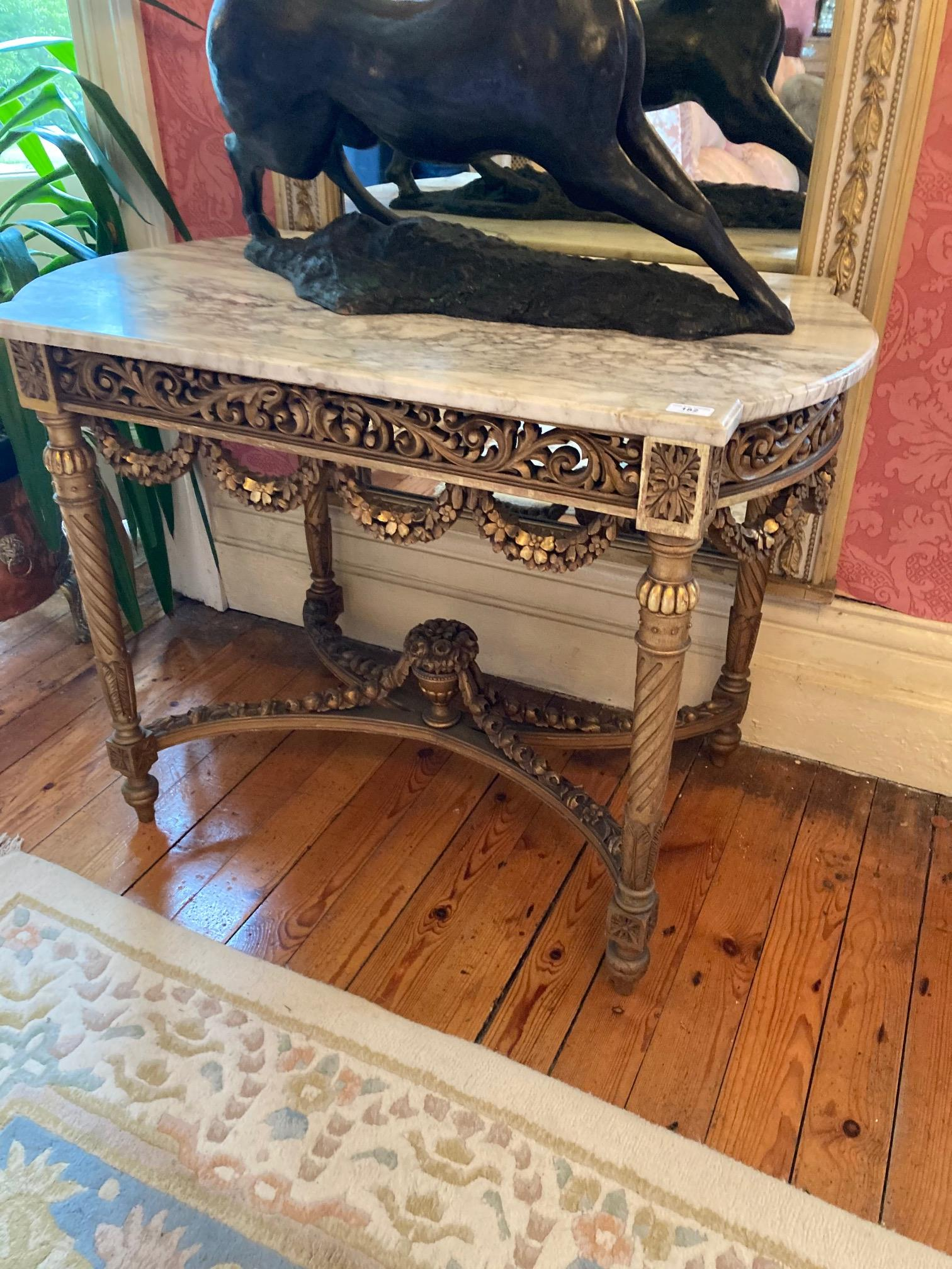 A French giltwood Centre Table, with white veined marble top with bowed ends above a pierced and - Image 9 of 9