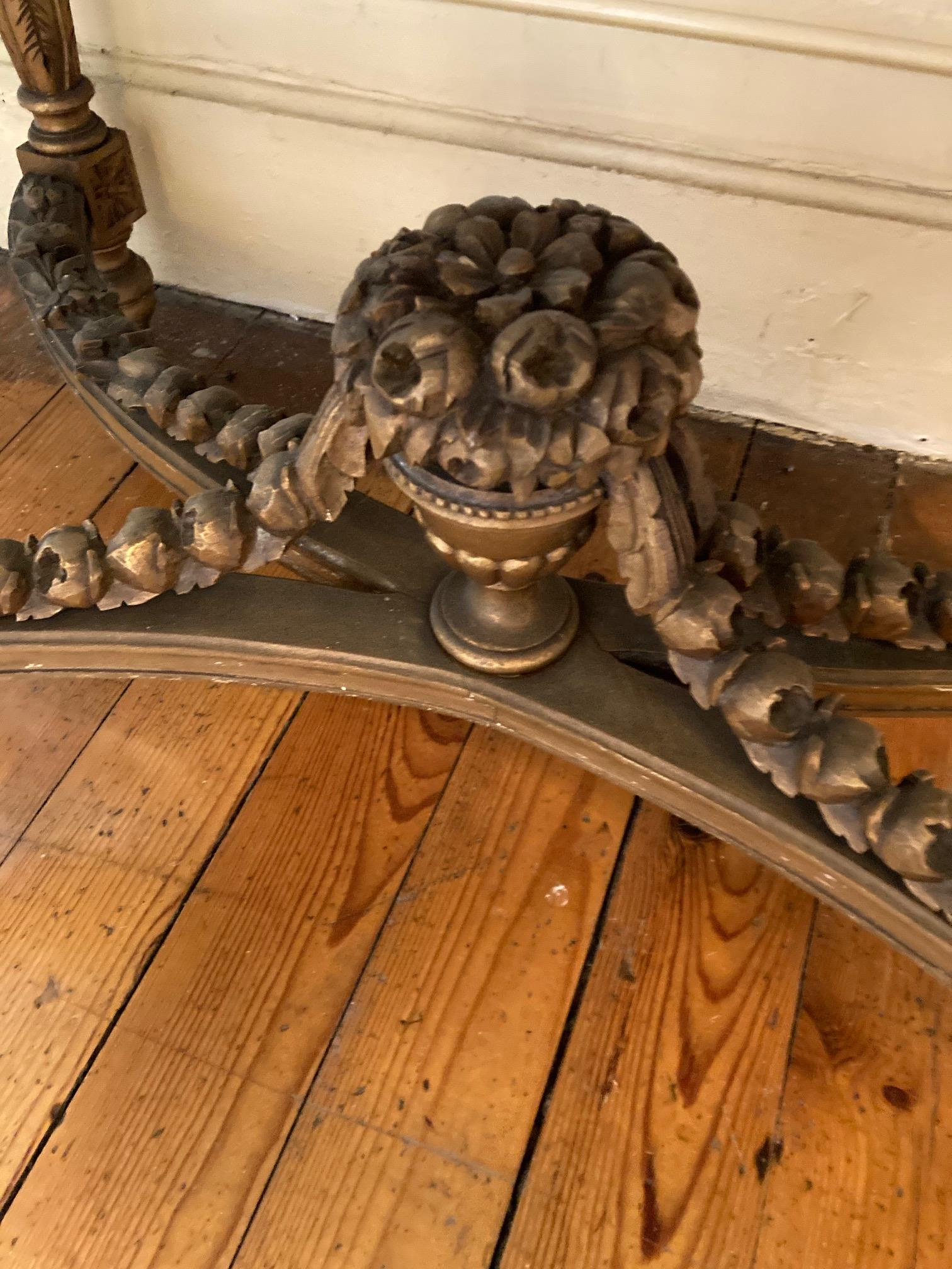 A French giltwood Centre Table, with white veined marble top with bowed ends above a pierced and - Image 8 of 9
